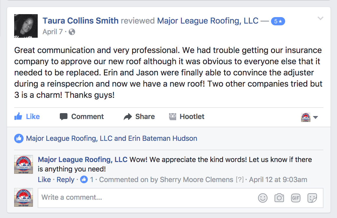 Reviews | Major League Roofing